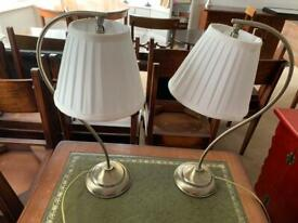 Pair of desk/ bedside metal table lamps lights