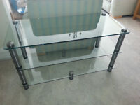 3-Tier Glass TV Unit / Stand. W:110 x D: 50 x H: 57cm with 10mm Toughened Glass. Immaculate