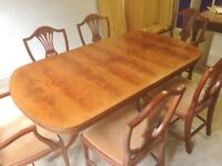 Twin Pedestal Table & Six Chairs