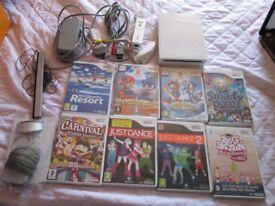 Nintendo Wii White Console bundle,8 games