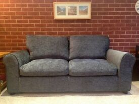 2/3 Seater Fabric Sofa - Charcoal - Very Good Condition - H86 W172 D86cm
