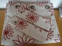 Dunelm Mill Lined Curtains 75 Inches X 72Inches drop, with Tie backs
