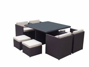 Outdoor Wicker Stowaway Chairs + Table + Ottomans Dining Package Maroubra Eastern Suburbs Preview