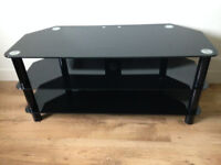 Black Glass TV Stand 1050mm wide