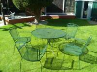 Garden table and chairs mesh steel set