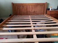 Wooden Double Bed Solid Classsic Waxed Pine
