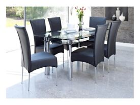 Harvey's Boat range Glass Double layer Dining Table and 6 Faux Black leather chairs