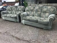 GREEN OLIVE FABRIC CLOTHE 3 AND 3 SEATER SOFA SET THREE PLUS SECOND HAND CHEAP BARGAIN RENT HOUSE