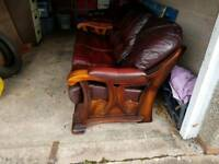 Leather 3+1+1 oak frame