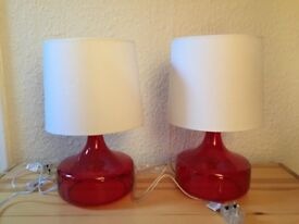 Pair of Red Glass Table Lamp