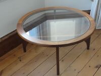 1960's STATEROOM ROUND TEAK COFFEE TABLE