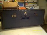 """STEAMER / TRAVEL TRUNK , a BLUE MONSTER 33"""" by 21"""" by 14"""" HANDLES & CATCHES GOOD .+++++"""