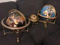 Genuine Gemstone Rotating Globes Compass On A Gold Brass Stand £300 each small one £100