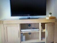 natural solid oak large TV display cabinet