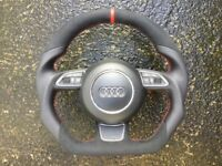 AUDI A1 S1 A6 S6 RS6 A7 S7 RS7 A8 S8 NEW CUSTOM MADE FLAT BOTTOM STEERING WHEEL