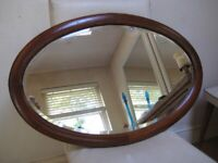 Lovely Classic Vintage Inlaid Oval Bevelled Mirror - Great original condition