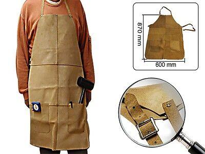 Schweißerschürze + Taschen Spaltleder Arbeitsschürze Leder Schweißschutz Schürze
