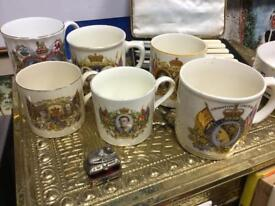 6 x RARE VINTAGE RETRO ANTIQUE RIYAL CHINA MUGS COMMEMORATIVE DIANA KING GEORGE ELIZABETH II SDHC