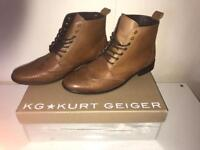 Kurt Geiger men's size uk 9 eu 42 real leather tan boots brand new RRP£120
