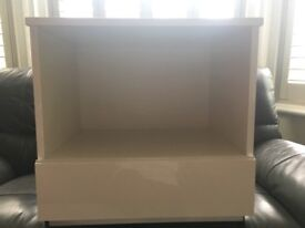 White gloss bedside table, white gloss top, sides and front draw, a few marks.
