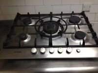 Stainless steel Bosch 5 ring hob