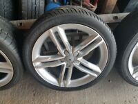 18'' GENUINE AUDI A5 S LINE 5 DOUBLE SPOKE ALLOY WHEELS TYRES