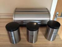 Brabantia bread bin with Brabantia tea, sugar and coffee caddy set