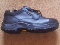 Dr Marten, black work shoes with steel toe caps, size 8