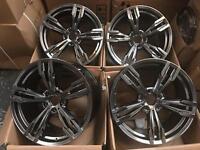 """20"""" inch 5x120 Staggered Hyper Black Dark Grey Chrome Alloy Wheels Rims fits: BMW X5 E70 BMW X6 E71"""