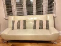 Sofa Bed in white leather