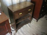 VINTAGE ORNATE OAK SMALL BOOKSHELF. ORNATE FASCIA. 1 DRAWER & 2 SHELVES. VIEWING/DELIVERY AVAILABLE