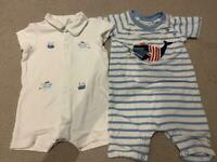 3-6 months boys short babygrows - White Company and Jojo Maman Bebe