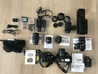 Nikon cameras, lenses, studio lighting & equipment and camera backpack