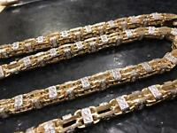 BRAND NEW 9ct yellow gold with stones heavy chain boxlink