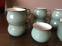 Denby regency green - 8 cups and saucers , sugar bowl , milk jug RRP £200