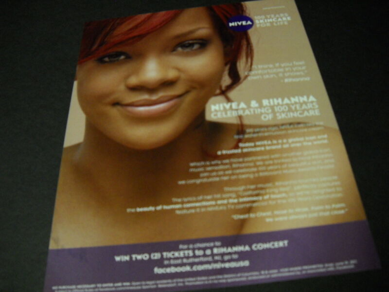 RIHANNA and Nivea 100 Years of Skincare For Life 2011 PROMO DISPLAY ADVERT mint