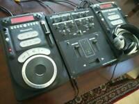 Full CD DJ set-up - two Numark Axis 9 CD decks and a Tascam XS-4 mixer, Numark headphones