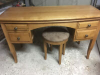 Dressing Table and Stool in Solid Light Wood