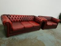 ANTIQUE OXBLOOD LEATHER CHESTERFIELD LOUNGE SUITE / M&S 3 SEATER SOFA & 2 SEATER SETTEE CAN DELIVER