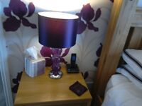 2 50cm tall purple crackle ball glass table/bedside lamps