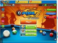 8 Ball Pool new account with 100 million plus coins.