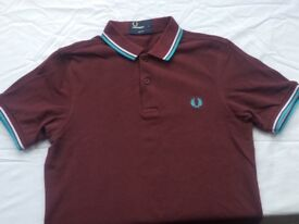 Fred Perry maroon polo shirt - small