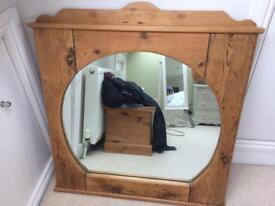Vintage wooden rustic Mantle Mirror 1