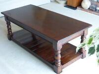 Solid Oak Coffee Table with Lower Shelf