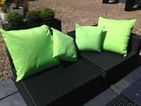 Garden cushions and garden chair seat padded cushions water resistant lime green