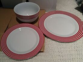 White and red Plates,side plates and bowls - £5