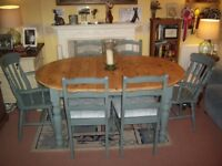 "OVAL EXT PINE FARMHOUSE TABLE AND 6 CHAIRS Approx 6ft 6"" x 3ft 5"" Extended"