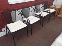4 x Black iron garden chairs with cushions