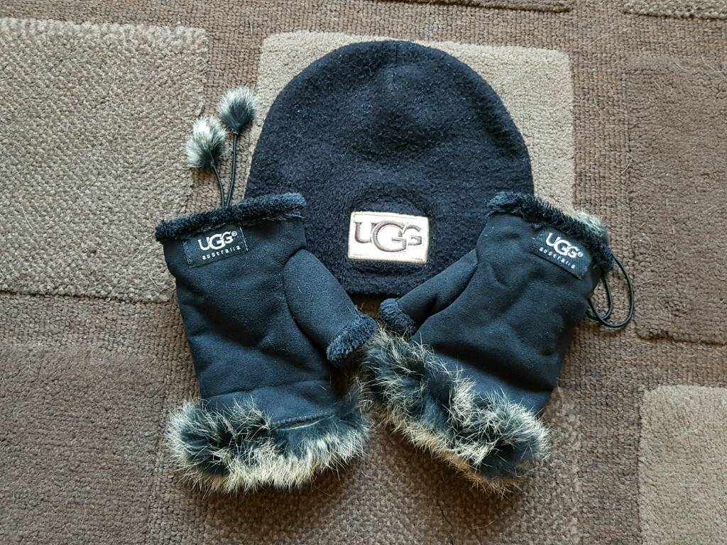 Black UGG Hat and fingerless gloves  007b9192bed