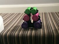 Dumbell set with stand, never used. 1kg x 2, 1.5kg x 2 and 2kg x 2